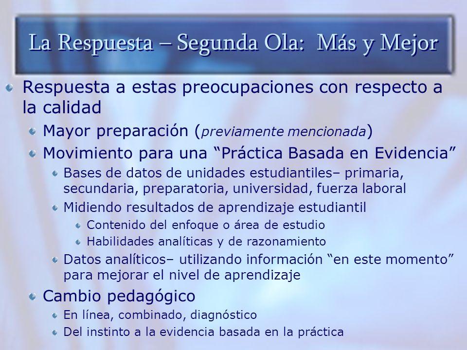 La Respuesta – Segunda Ola: Más y Mejor Respuesta a estas preocupaciones con respecto a la calidad Mayor preparación ( previamente mencionada ) Movimi