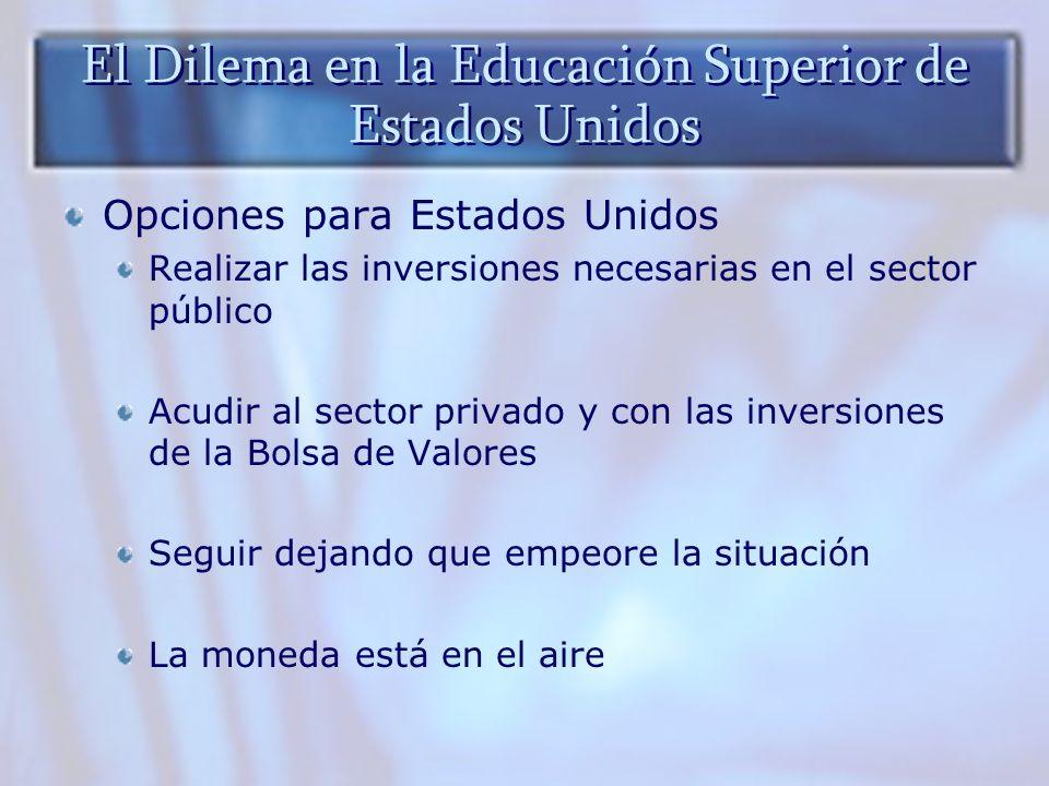 El Dilema en la Educación Superior de Estados Unidos Opciones para Estados Unidos Realizar las inversiones necesarias en el sector público Acudir al s