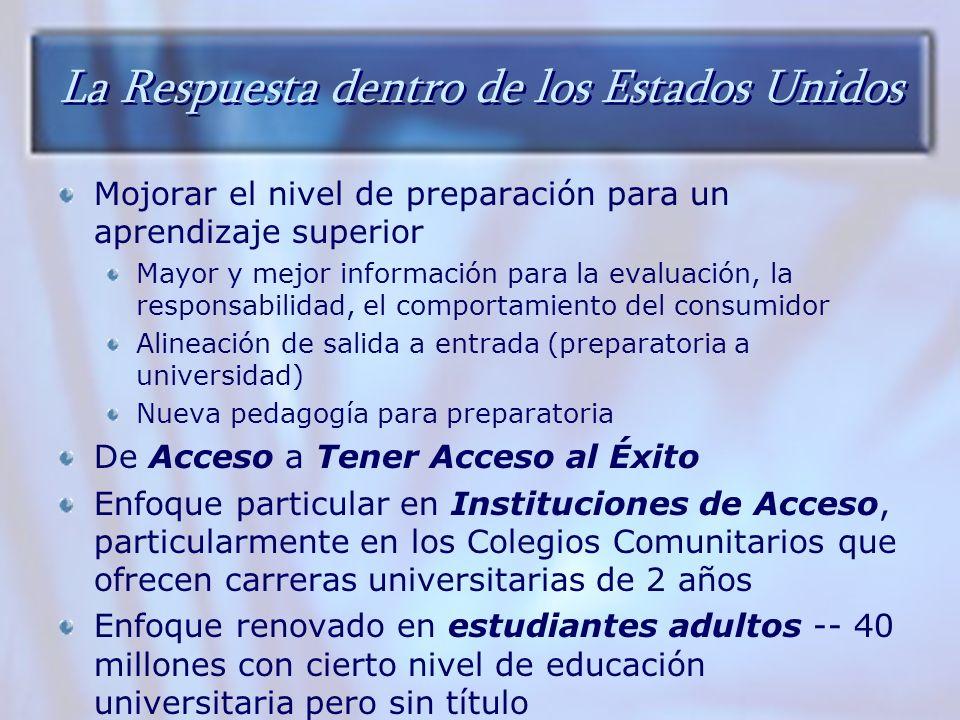 La Respuesta dentro de los Estados Unidos Mojorar el nivel de preparación para un aprendizaje superior Mayor y mejor información para la evaluación, l