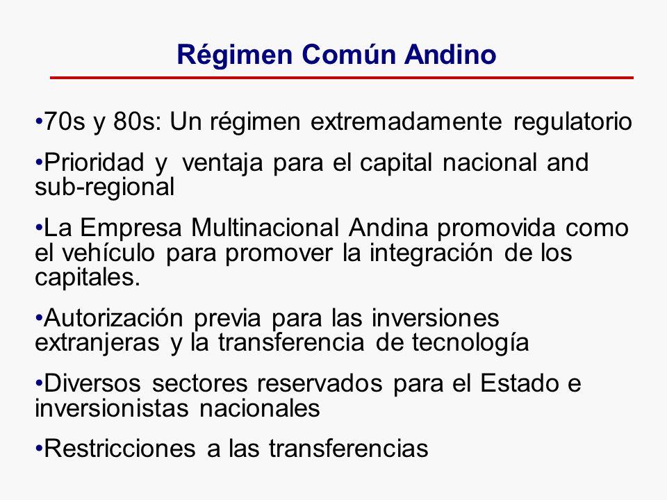 70s y 80s: Un régimen extremadamente regulatorio Prioridad y ventaja para el capital nacional and sub-regional La Empresa Multinacional Andina promovi