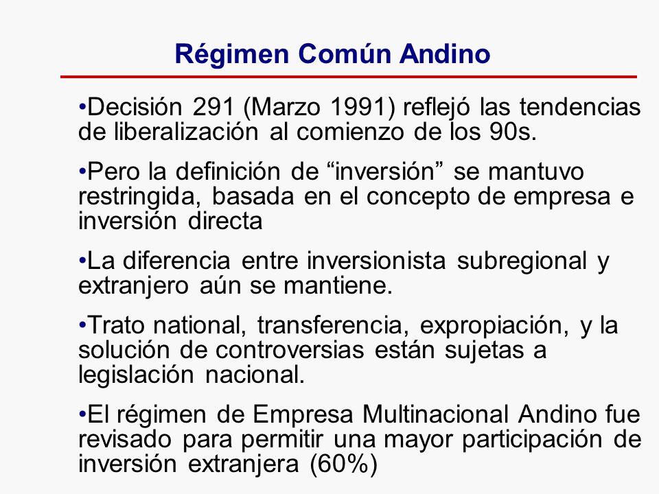 Decisión 291 (Marzo 1991) reflejó las tendencias de liberalización al comienzo de los 90s. Pero la definición de inversión se mantuvo restringida, bas