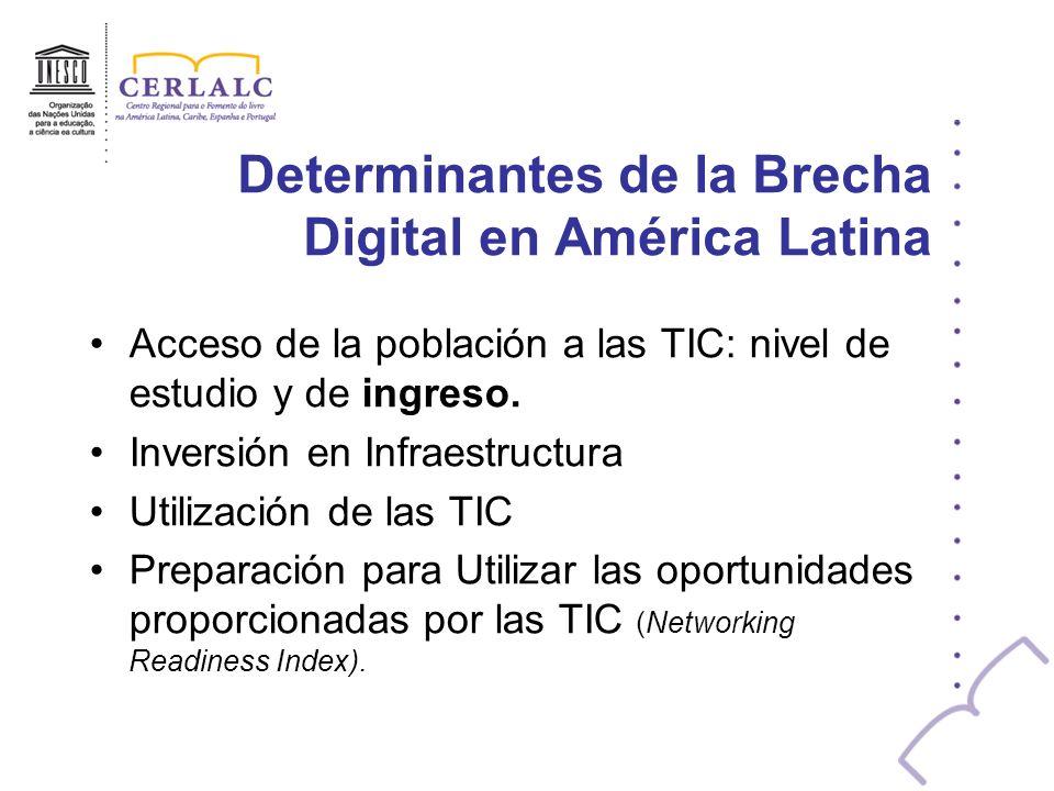 Determinantes de la Brecha Digital en América Latina Acceso de la población a las TIC: nivel de estudio y de ingreso. Inversión en Infraestructura Uti