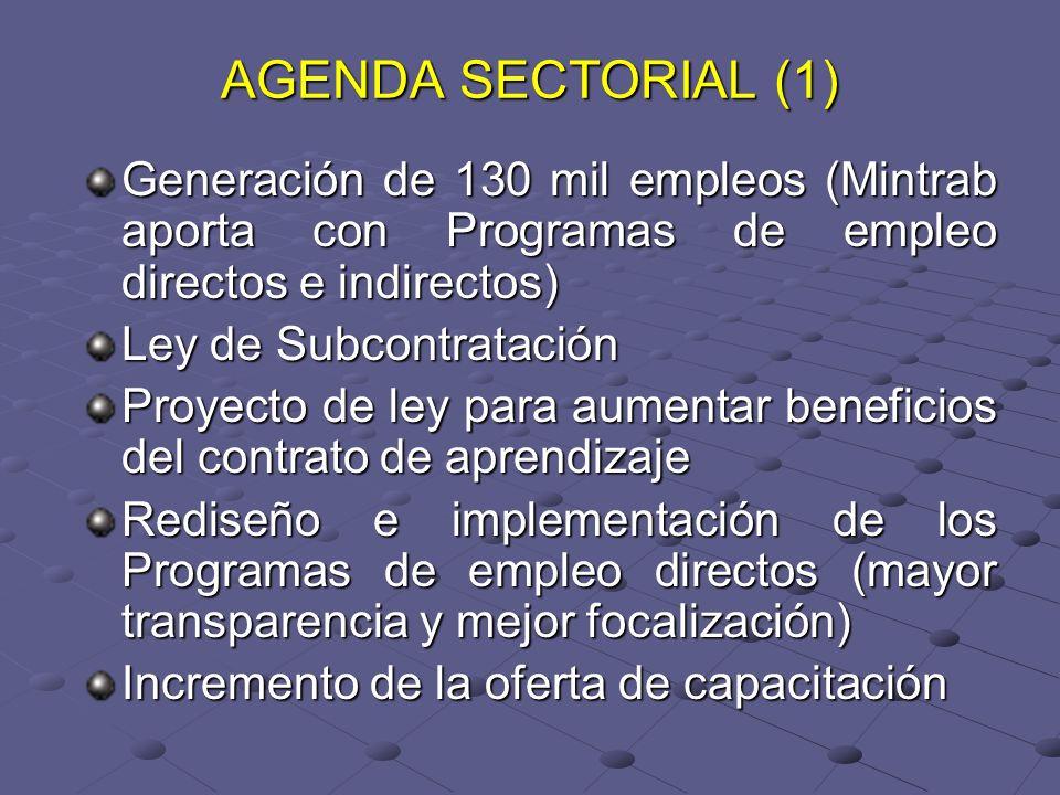 AGENDA SECTORIAL (1) Generación de 130 mil empleos (Mintrab aporta con Programas de empleo directos e indirectos) Ley de Subcontratación Proyecto de ley para aumentar beneficios del contrato de aprendizaje Rediseño e implementación de los Programas de empleo directos (mayor transparencia y mejor focalización) Incremento de la oferta de capacitación