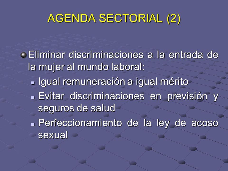 AGENDA SECTORIAL (2) Eliminar discriminaciones a la entrada de la mujer al mundo laboral: Igual remuneración a igual mérito Igual remuneración a igual