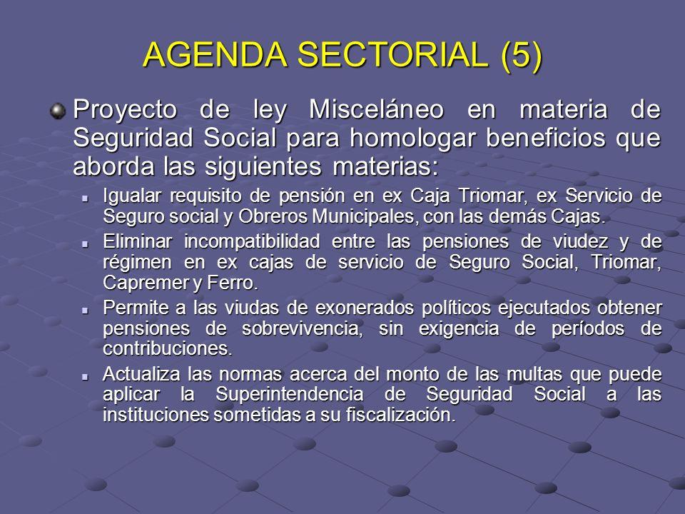 AGENDA SECTORIAL (5) Proyecto de ley Misceláneo en materia de Seguridad Social para homologar beneficios que aborda las siguientes materias: Igualar r