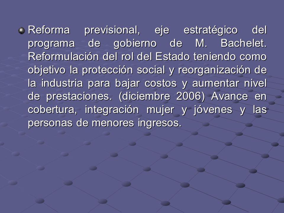 Reforma previsional, eje estratégico del programa de gobierno de M. Bachelet. Reformulación del rol del Estado teniendo como objetivo la protección so