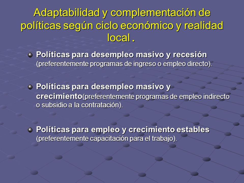 Adaptabilidad y complementación de políticas según ciclo económico y realidad local.