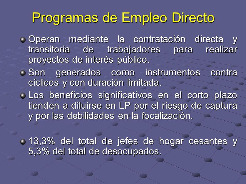 Programas de Empleo Directo Operan mediante la contratación directa y transitoria de trabajadores para realizar proyectos de interés público. Son gene