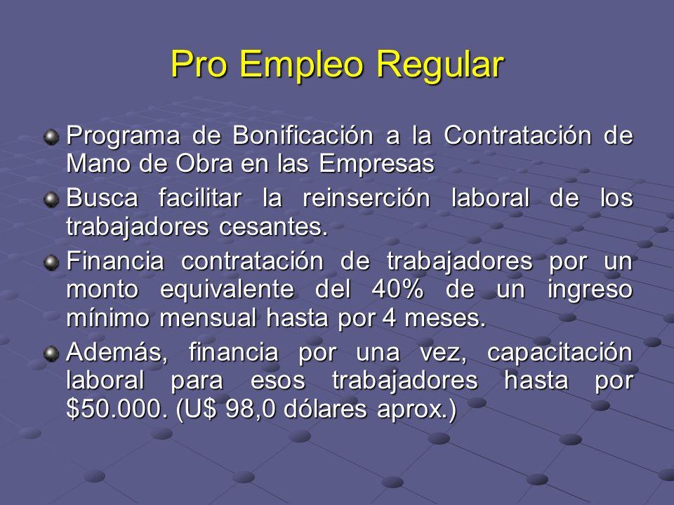 Pro Empleo Regular Programa de Bonificación a la Contratación de Mano de Obra en las Empresas Busca facilitar la reinserción laboral de los trabajadores cesantes.