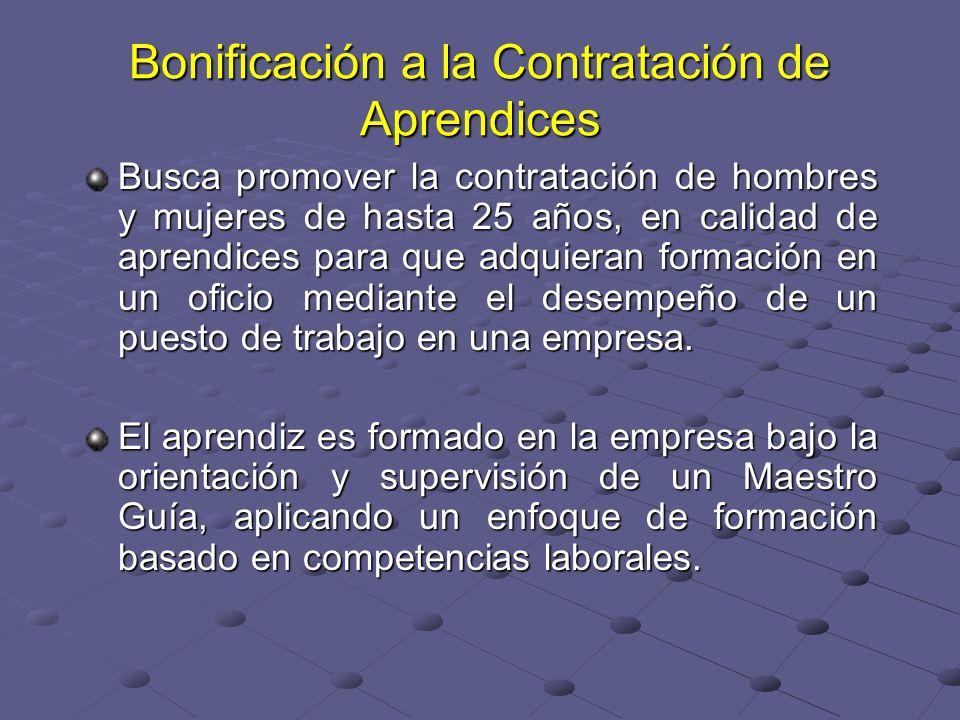 Bonificación a la Contratación de Aprendices Busca promover la contratación de hombres y mujeres de hasta 25 años, en calidad de aprendices para que a