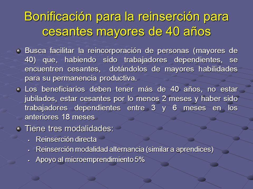 Bonificación para la reinserción para cesantes mayores de 40 años Busca facilitar la reincorporación de personas (mayores de 40) que, habiendo sido tr