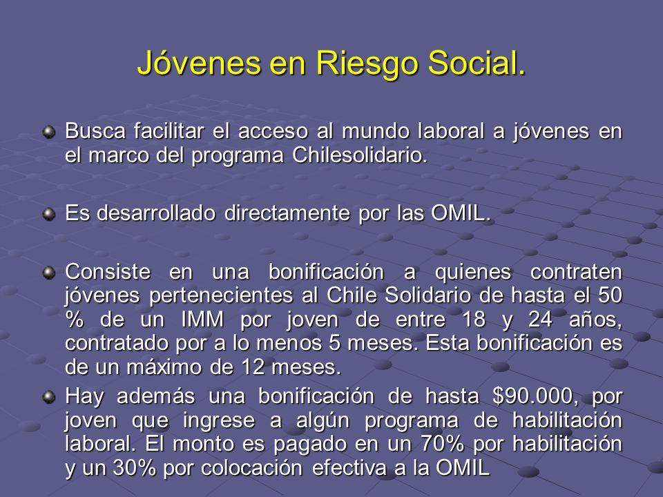 Jóvenes en Riesgo Social. Busca facilitar el acceso al mundo laboral a jóvenes en el marco del programa Chilesolidario. Es desarrollado directamente p