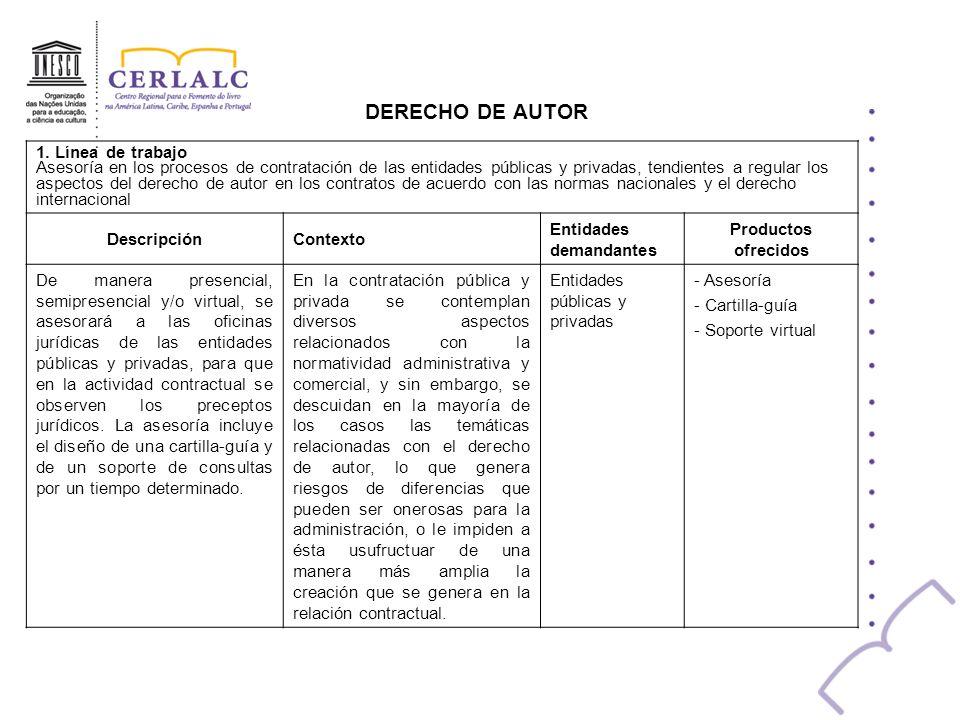 DERECHO DE AUTOR 1. Línea de trabajo Asesoría en los procesos de contratación de las entidades públicas y privadas, tendientes a regular los aspectos