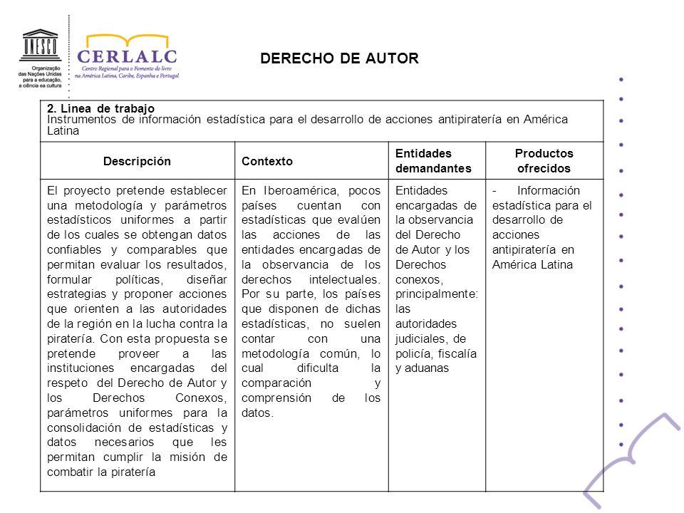 DERECHO DE AUTOR 2. Línea de trabajo Instrumentos de información estadística para el desarrollo de acciones antipiratería en América Latina Descripció