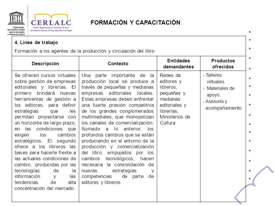 FORMACIÓN Y CAPACITACIÓN 4. Línea de trabajo Formación a los agentes de la producción y circulación del libro DescripciónContexto Entidades demandante