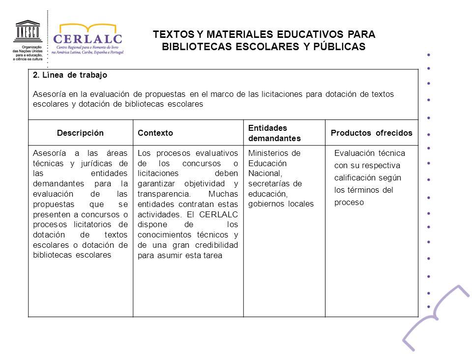 TEXTOS Y MATERIALES EDUCATIVOS PARA BIBLIOTECAS ESCOLARES Y PÚBLICAS 3.