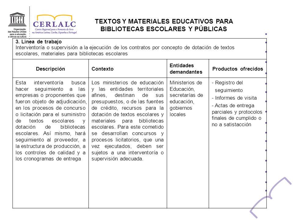 TEXTOS Y MATERIALES EDUCATIVOS PARA BIBLIOTECAS ESCOLARES Y PÚBLICAS 3. Línea de trabajo Interventoría o supervisión a la ejecución de los contratos p