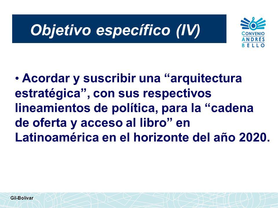 Objetivo específico (IV) Gil-Bolívar Acordar y suscribir una arquitectura estratégica, con sus respectivos lineamientos de política, para la cadena de