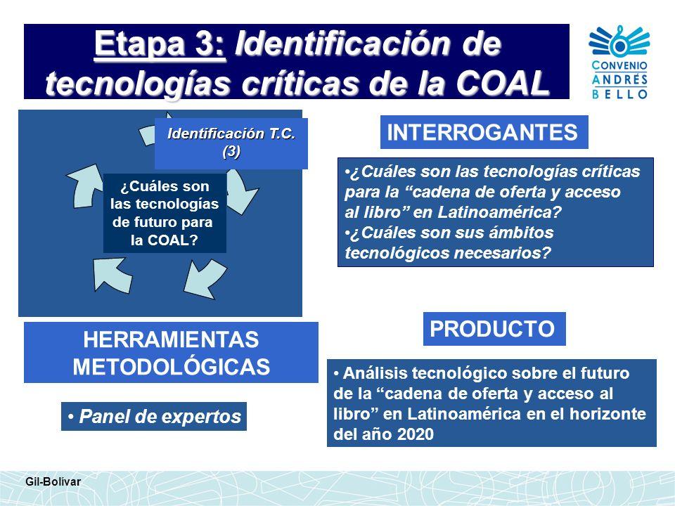 Etapa 3: Identificación de tecnologías críticas de la COAL INTERROGANTES HERRAMIENTAS METODOLÓGICAS ¿Cuáles son las tecnologías críticas para la caden