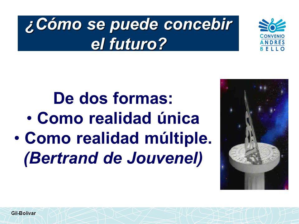 De dos formas: Como realidad única Como realidad múltiple. (Bertrand de Jouvenel) ¿Cómo se puede concebir el futuro? Gil-Bolívar