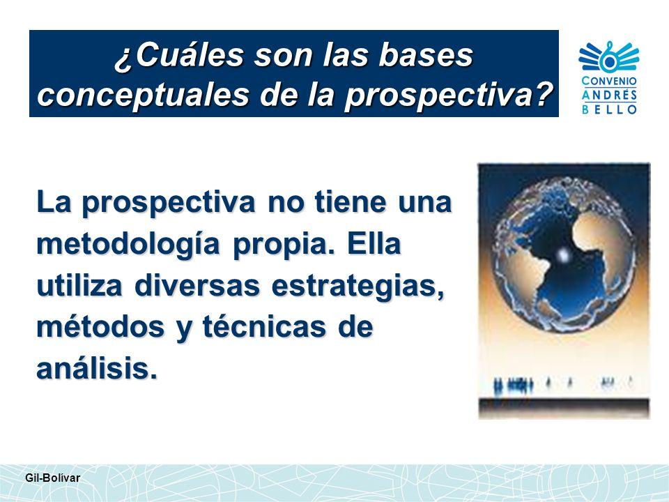 La prospectiva no tiene una metodología propia. Ella utiliza diversas estrategias, métodos y técnicas de análisis. ¿Cuáles son las bases conceptuales
