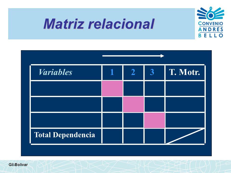 Matriz relacional Gil-Bolívar Variables123T. Motr. Total Dependencia