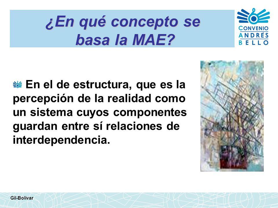 ¿En qué concepto se basa la MAE? En el de estructura, que es la percepción de la realidad como un sistema cuyos componentes guardan entre sí relacione