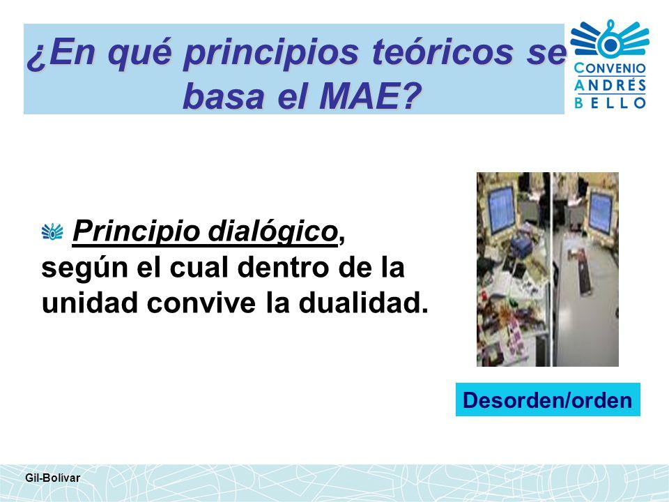 ¿En qué principios teóricos se basa el MAE? Principio dialógico, según el cual dentro de la unidad convive la dualidad. Gil-Bolívar Desorden/orden