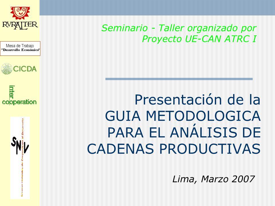 Presentación de la GUIA METODOLOGICA PARA EL ANÁLISIS DE CADENAS PRODUCTIVAS Lima, Marzo 2007 Mesa de Trabajo Desarrollo Económico Seminario - Taller