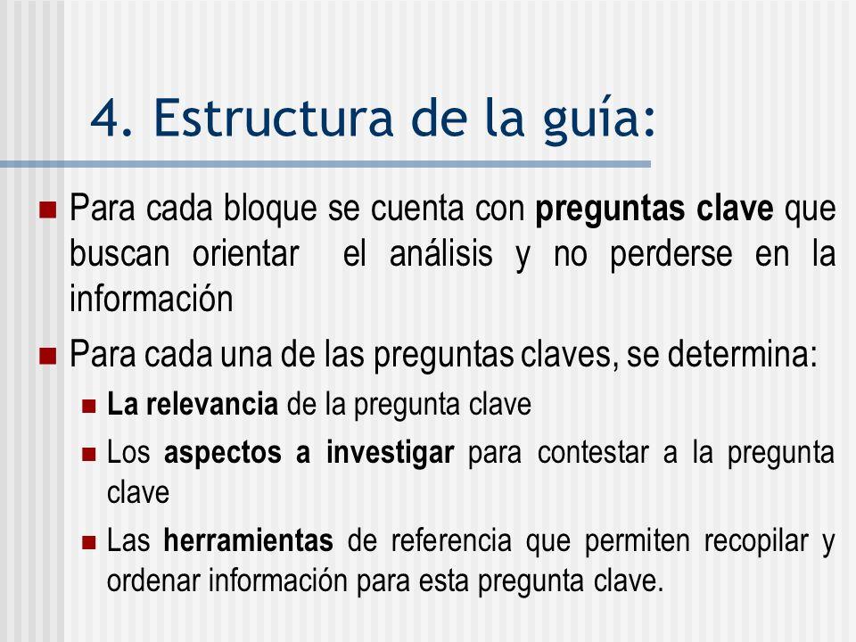4. Estructura de la guía: Para cada bloque se cuenta con preguntas clave que buscan orientar el análisis y no perderse en la información Para cada una
