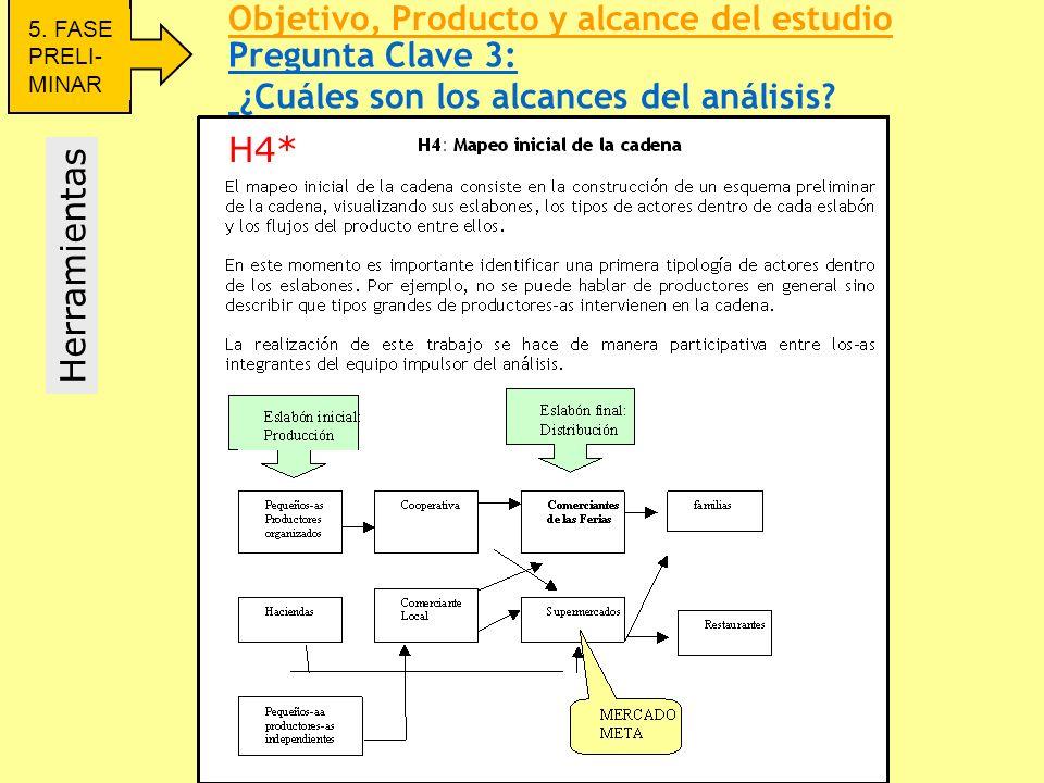 Pregunta Clave 3: ¿Cuáles son los alcances del análisis? Herramientas 5. FASE PRELI- MINAR Objetivo, Producto y alcance del estudio H4*