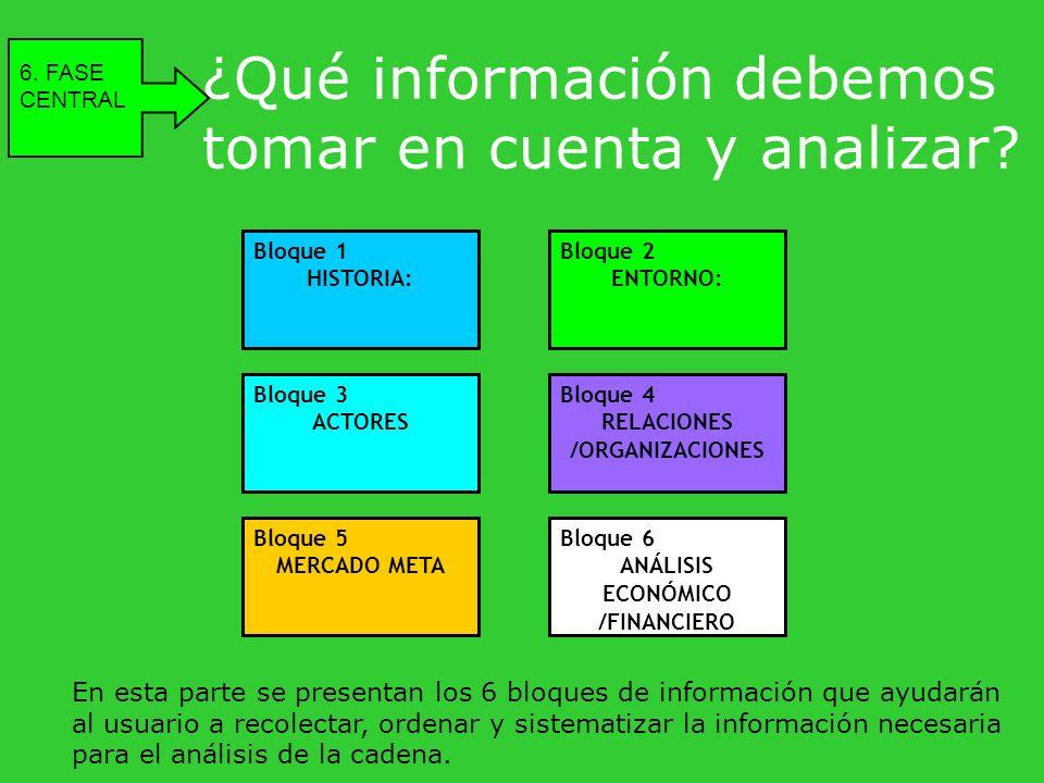 ¿Qué información debemos tomar en cuenta y analizar? 6. FASE CENTRAL En esta parte se presentan los 6 bloques de información que ayudarán al usuario a