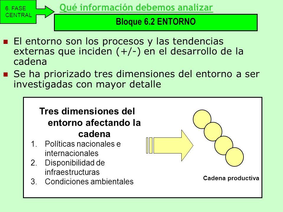 El entorno son los procesos y las tendencias externas que inciden (+/-) en el desarrollo de la cadena Se ha priorizado tres dimensiones del entorno a