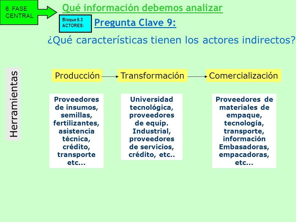 ¿Qué características tienen los actores indirectos? Herramientas Qué información debemos analizar 6. FASE CENTRAL Pregunta Clave 9: Bloque 6.3 ACTORES