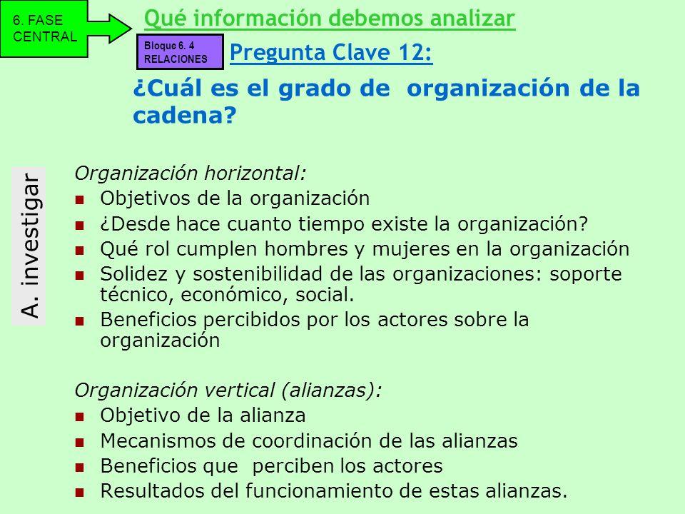 ¿Cuál es el grado de organización de la cadena? Organización horizontal: Objetivos de la organización ¿Desde hace cuanto tiempo existe la organización