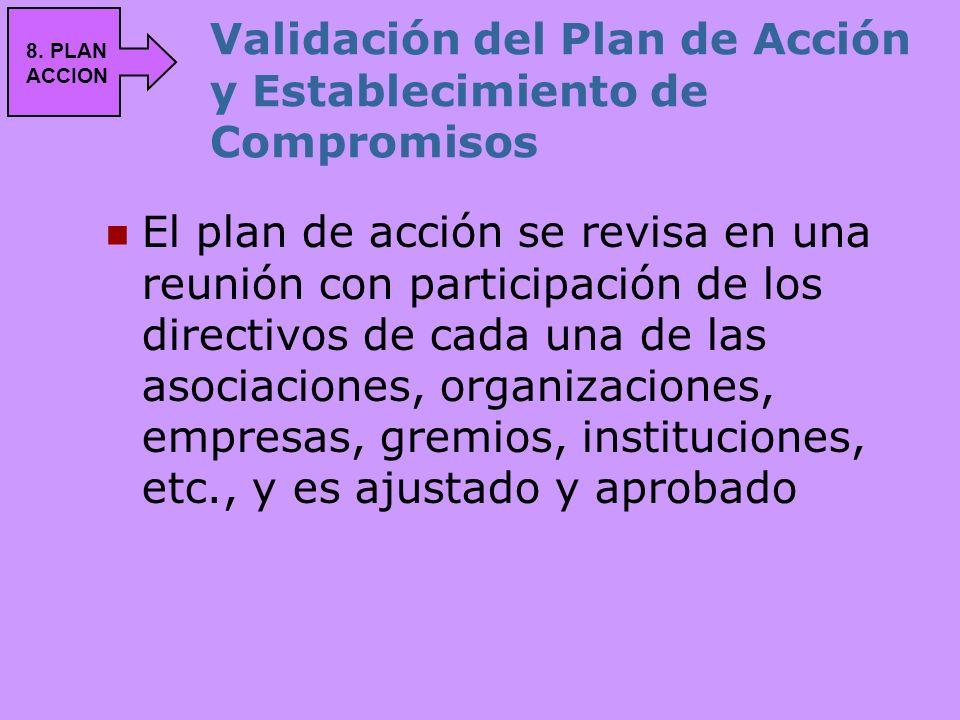 Validación del Plan de Acción y Establecimiento de Compromisos El plan de acción se revisa en una reunión con participación de los directivos de cada