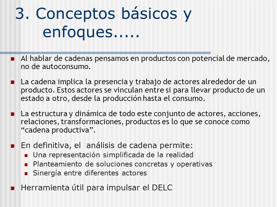 3. Conceptos básicos y enfoques..... Al hablar de cadenas pensamos en productos con potencial de mercado, no de autoconsumo. La cadena implica la pres