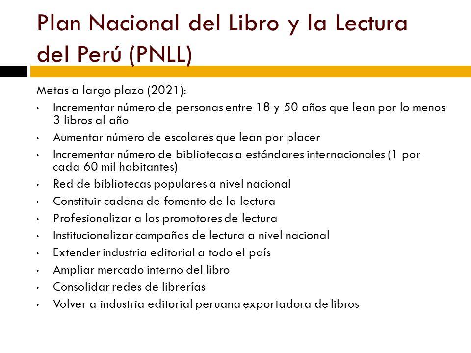 Plan Nacional del Libro y la Lectura del Perú (PNLL) Metas a largo plazo (2021): Incrementar número de personas entre 18 y 50 años que lean por lo menos 3 libros al año Aumentar número de escolares que lean por placer Incrementar número de bibliotecas a estándares internacionales (1 por cada 60 mil habitantes) Red de bibliotecas populares a nivel nacional Constituir cadena de fomento de la lectura Profesionalizar a los promotores de lectura Institucionalizar campañas de lectura a nivel nacional Extender industria editorial a todo el país Ampliar mercado interno del libro Consolidar redes de librerías Volver a industria editorial peruana exportadora de libros
