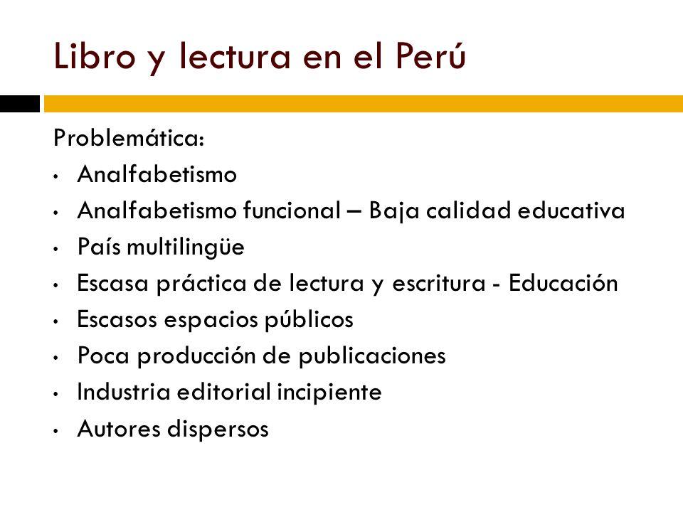 Plan Nacional del Libro y la Lectura del Perú (PNLL) Bibliotecas precarias Fomento de la lectura: Hábito de la lectura y comprensión lectora Producción editorial pobre en recuperación y crecimiento Autor – Ley de derechos de autor.