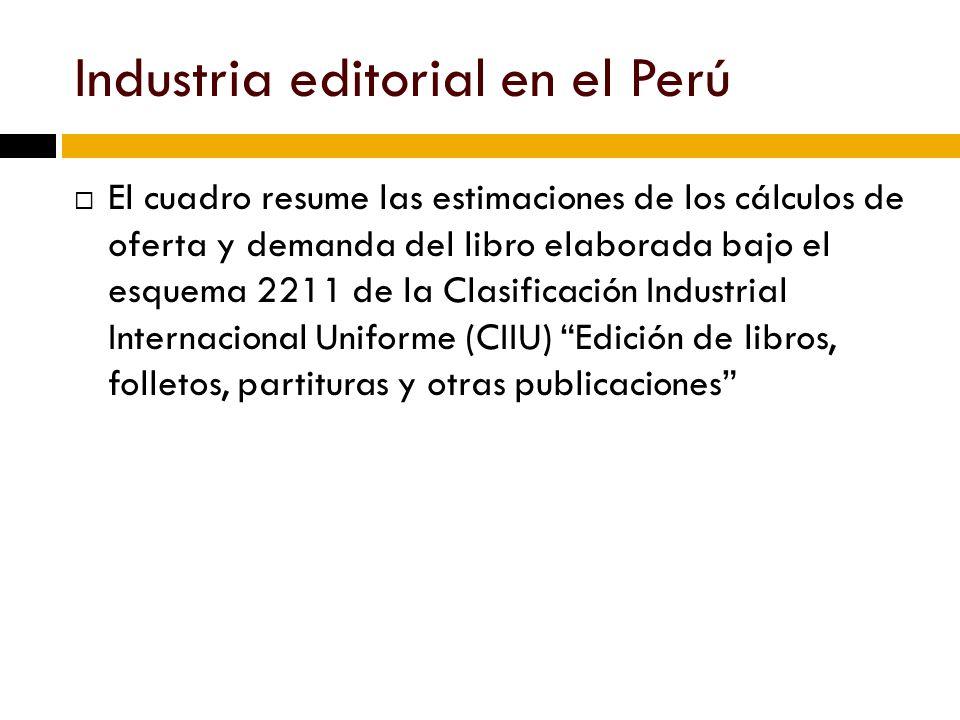 Industria editorial en el Perú El cuadro resume las estimaciones de los cálculos de oferta y demanda del libro elaborada bajo el esquema 2211 de la Clasificación Industrial Internacional Uniforme (CIIU) Edición de libros, folletos, partituras y otras publicaciones