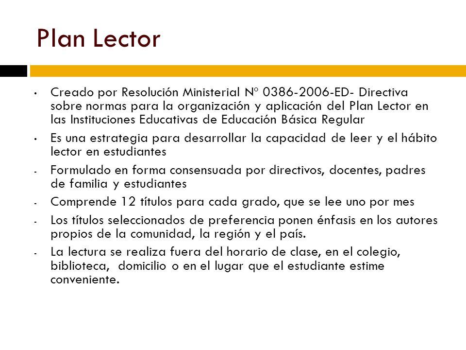 Plan Nacional de Democratización del Libro y Fomento de la Lectura (PNLL) El PNLL es una propuesta integral y comprende la producción, difusión, circulación, conservación del libro y fomento de la lectura, propiciando la participación de autores, lectores, editores, bibliotecólogos, libreros y comunidad en general PNLL partió de un proceso nacional de consultas y mesas de concertación – 2005 Objetivo general: Estimular el hábito de leer en todos los peruanos