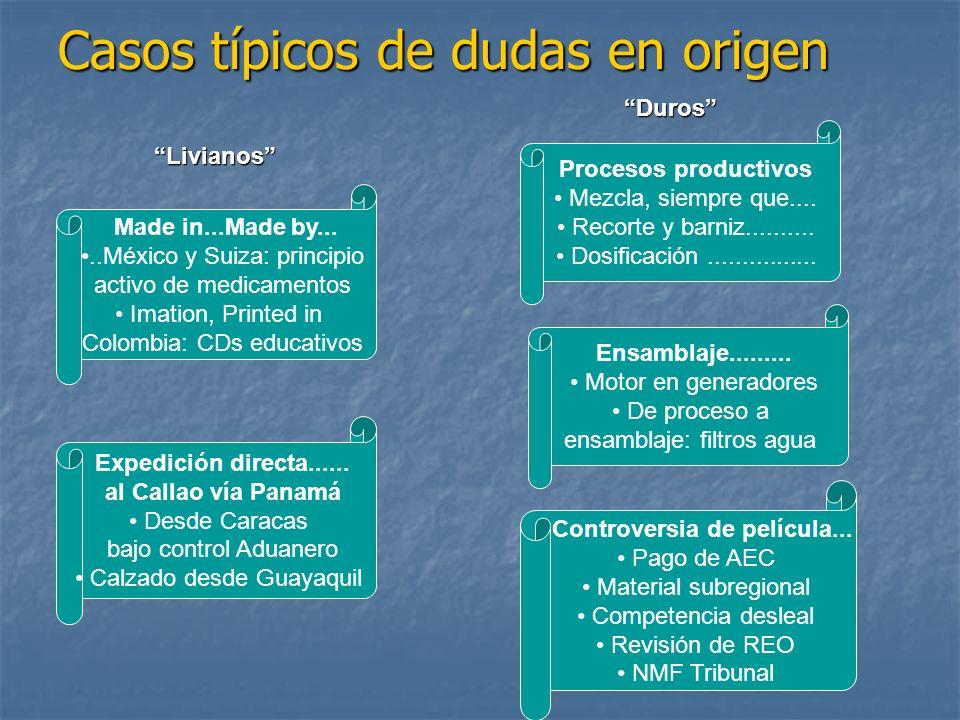 Casos típicos de dudas en origen Made in...Made by.....México y Suiza: principio activo de medicamentos Imation, Printed in Colombia: CDs educativos E