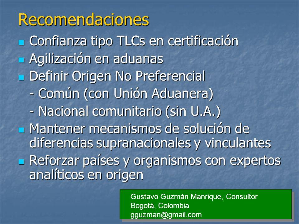 Recomendaciones Confianza tipo TLCs en certificación Confianza tipo TLCs en certificación Agilización en aduanas Agilización en aduanas Definir Origen