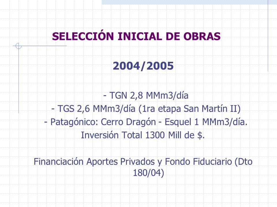 SELECCIÓN INICIAL DE OBRAS 2004/2005 - TGN 2,8 MMm3/día - TGS 2,6 MMm3/día (1ra etapa San Martín II) - Patagónico: Cerro Dragón - Esquel 1 MMm3/día.