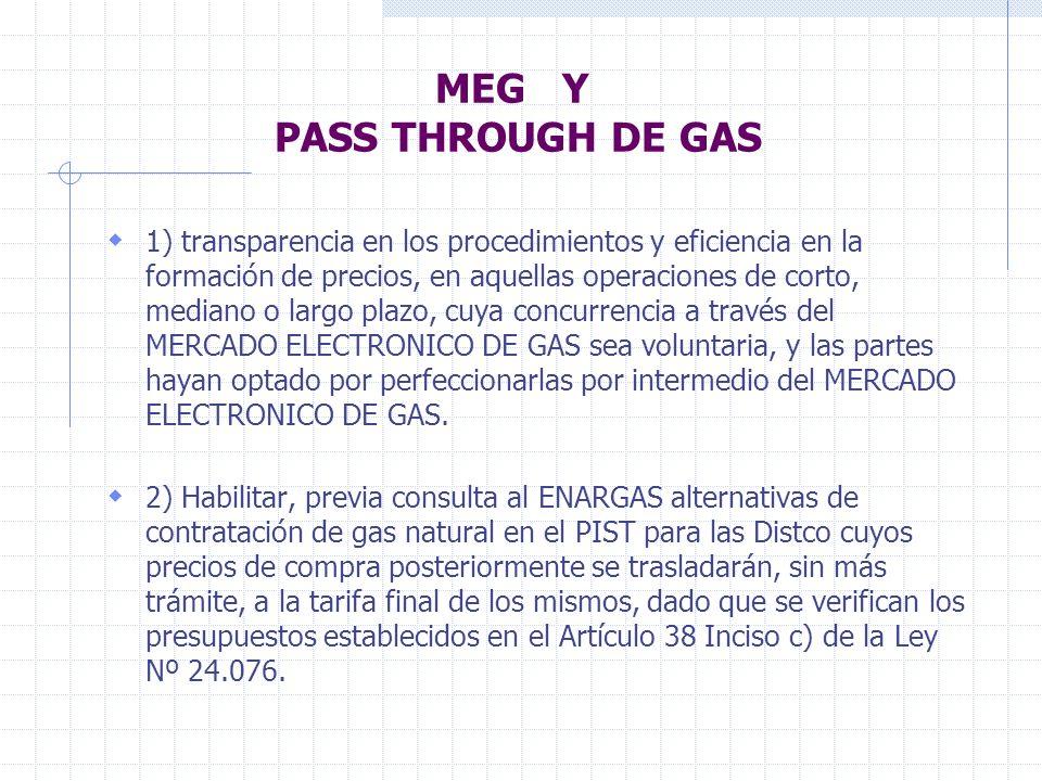 MEG Y PASS THROUGH DE GAS 1) transparencia en los procedimientos y eficiencia en la formación de precios, en aquellas operaciones de corto, mediano o largo plazo, cuya concurrencia a través del MERCADO ELECTRONICO DE GAS sea voluntaria, y las partes hayan optado por perfeccionarlas por intermedio del MERCADO ELECTRONICO DE GAS.