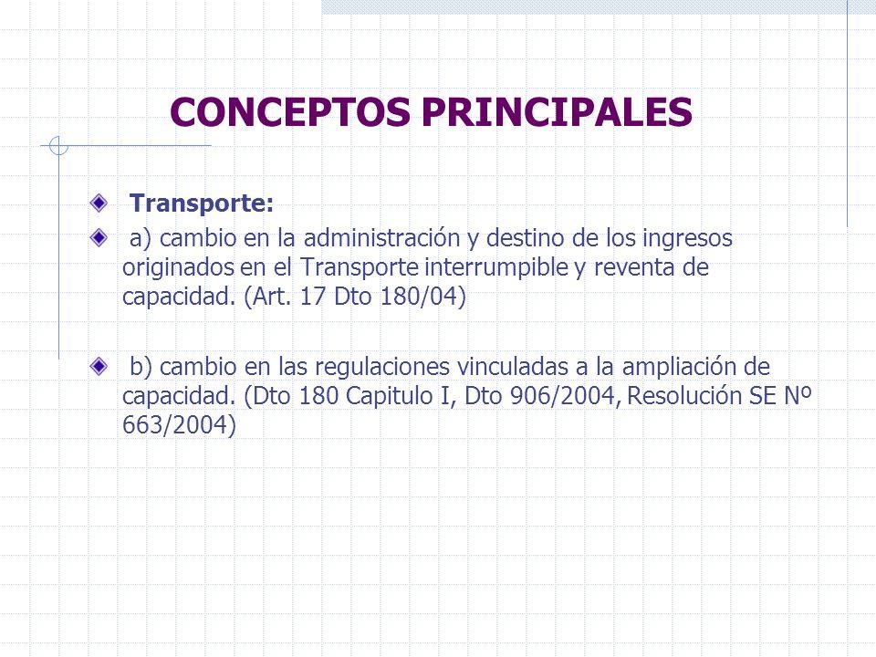 CONCEPTOS PRINCIPALES Distribución: - a) para nuevos usuarios directos: separación del negocio de distribución de gas del negocio de comercialización de gas (art.
