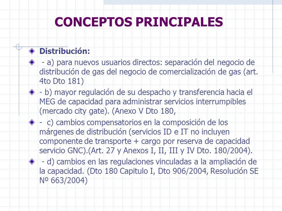 CONCEPTOS PRINCIPALES Usuarios: - Segmentación de la demanda con distintos niveles coyunturales de protección en cuanto al precio del gas en cabecera y distintos obligaciones futuras de la Distribuidoras de proveer servicios de gas y transporte, sujeto al desarrollo del MEG.