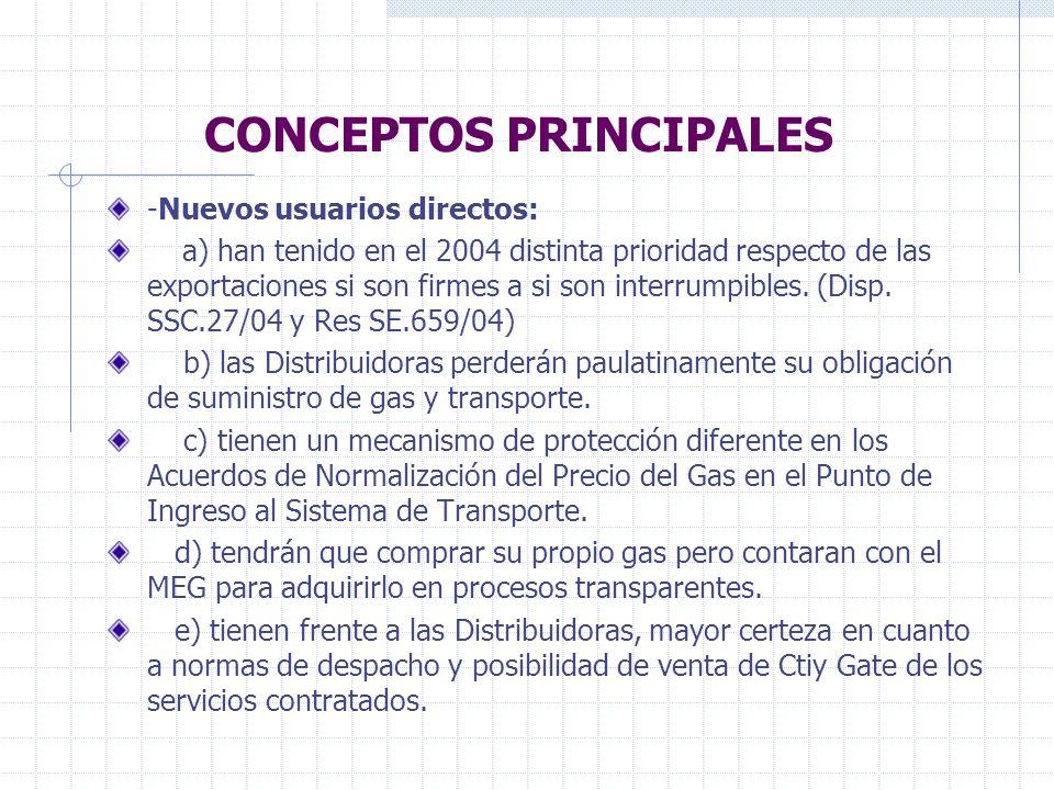 CONCEPTOS PRINCIPALES -Nuevos usuarios directos: a) han tenido en el 2004 distinta prioridad respecto de las exportaciones si son firmes a si son interrumpibles.