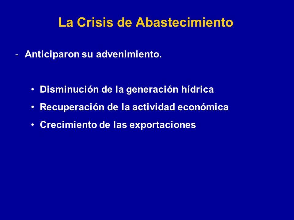 La Crisis de Abastecimiento -Anticiparon su advenimiento.