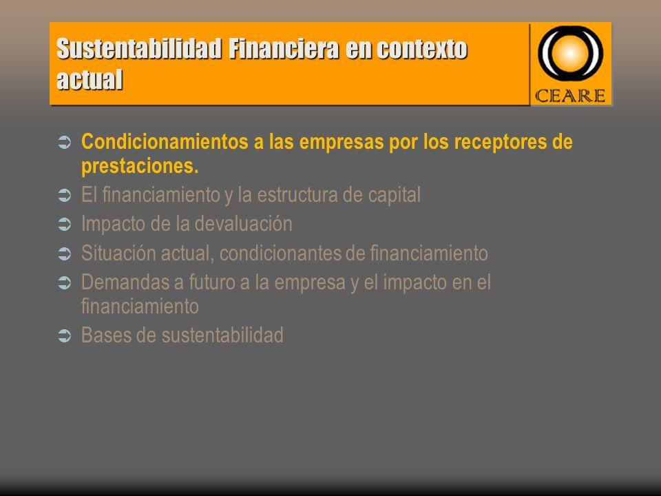 Sustentabilidad Financiera en contexto actual Condicionamientos a las empresas por los receptores de prestaciones.